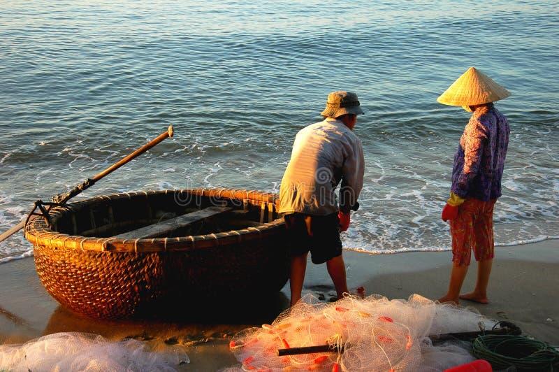 Vietnamese fishermen royalty free stock image