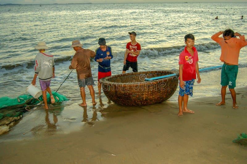 Vietnamese fishermen before going to sea stock photography