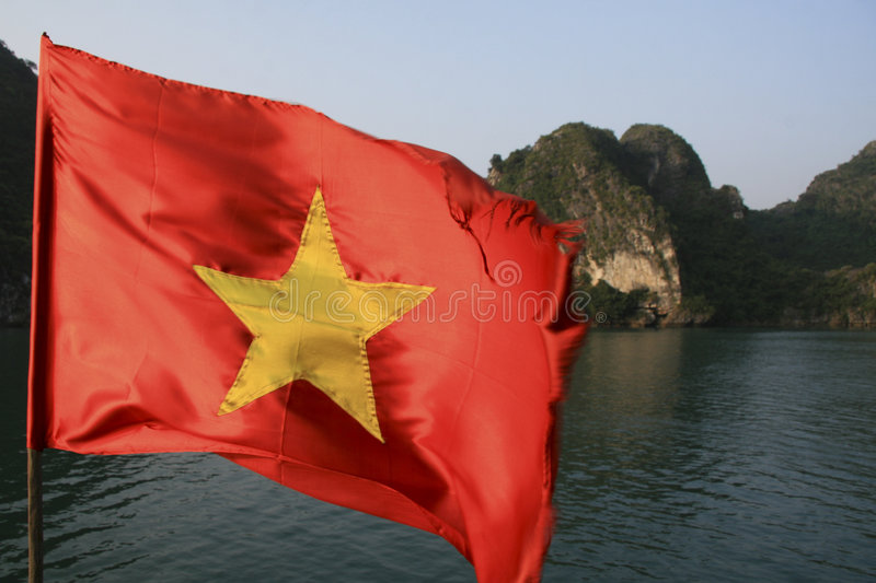 Download Vietnamese Flag In Halong Bay Stock Image - Image: 7071447