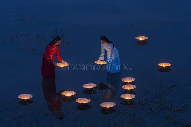 Vietnamese girl in river royalty free stock photos