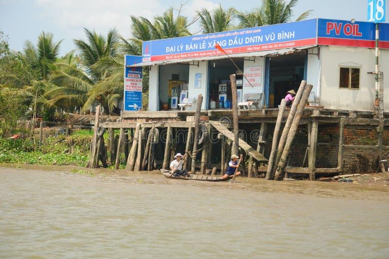 Vietnamese Mekong River Delta Gas Station stock photography