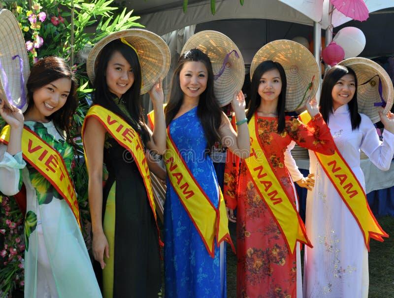 Vietnamese Models. Beautiful Vietnamese girls at Edmonton's Heritage Festival royalty free stock photography