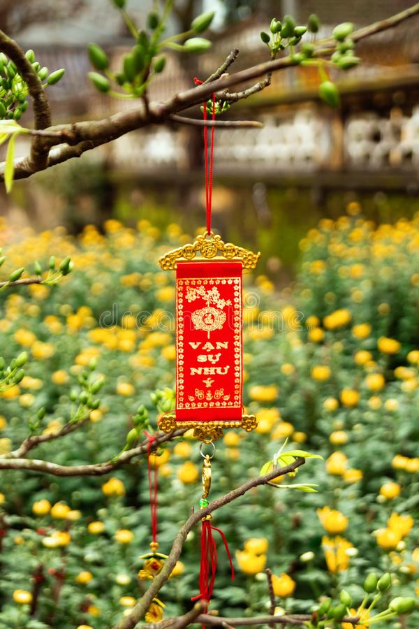 Vietnamese New Year decoration on a blurred background of yellow flowers. royalty free stock images