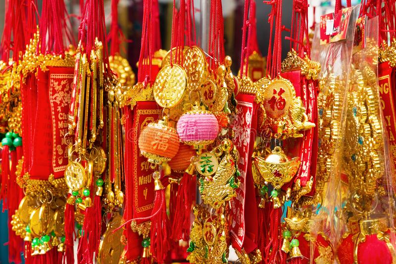 Vietnamese New Year decorations red and gold colors on a street. stock image