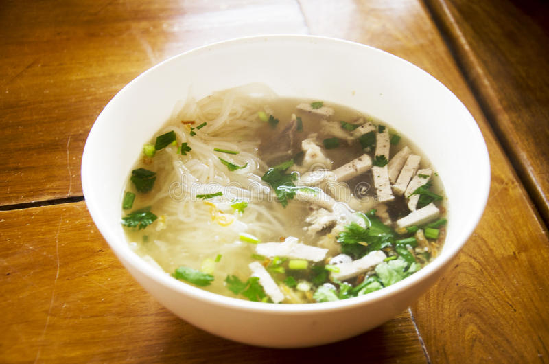 Vietnamese noodle soup with meat called Pho served with vegetable royalty free stock photography