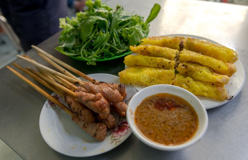 Vietnamese rice pancake with meat roll and sauce. stock photography