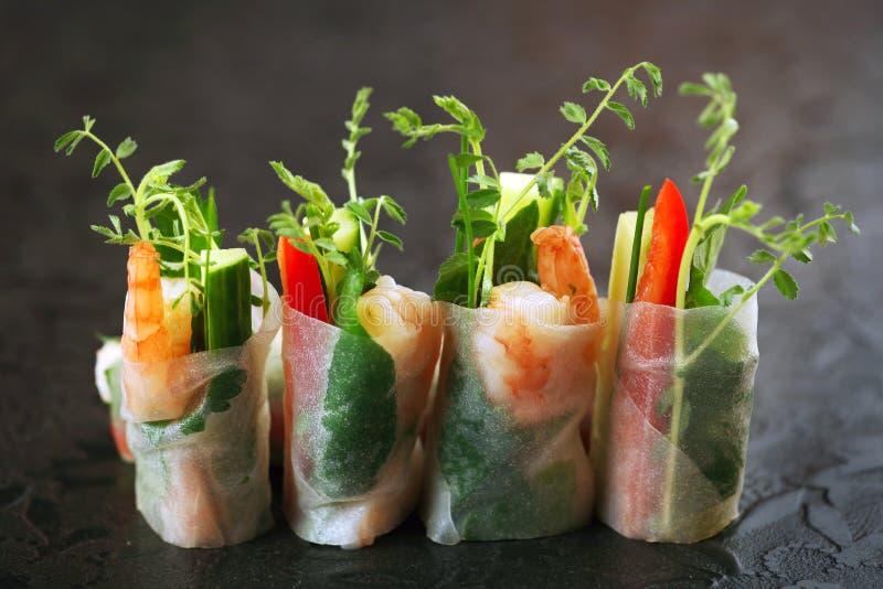 Vietnamese rice paper rolls stock photo