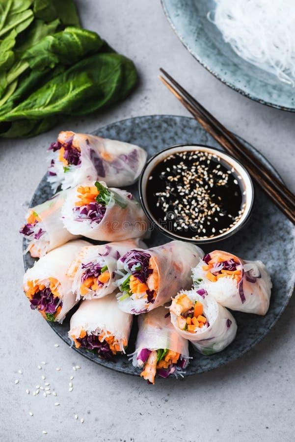 Vietnamese rice paper rolls royalty free stock photo