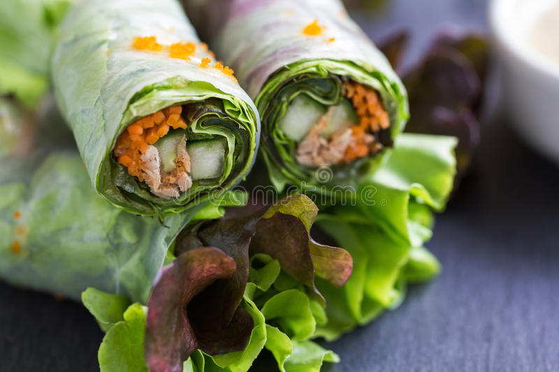 Vietnamese spring roll with vegetable and crab stick stock photography