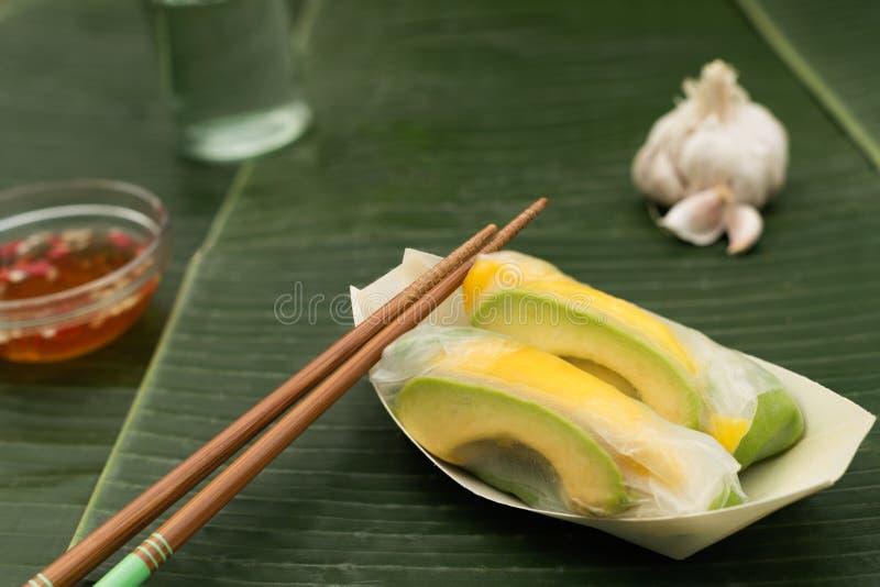 Vietnamese Spring Rolls with mango and advocado stock photo