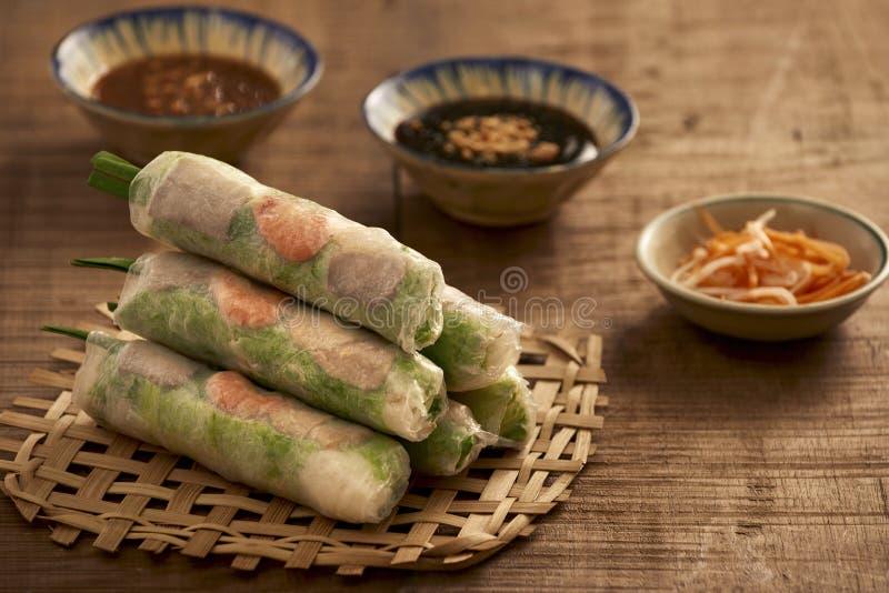 Vietnamese spring rolls - rice paper, lettuce, salad, vermicelli stock images