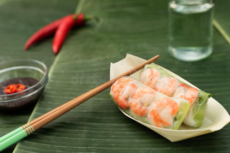 Vietnamese Spring Rolls with shrimps. Vietnamese Spring Rolls, also known as summer rolls as they are not deep-fried, so are fresh, quick and easy to make. They royalty free stock photos