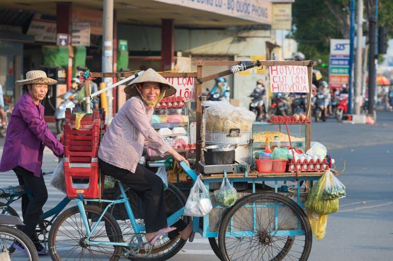 Vietnamese street food cooks stock photo