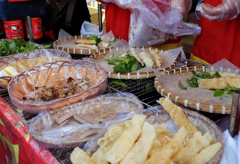 Vietnamese street food, rice paper rolls stock image