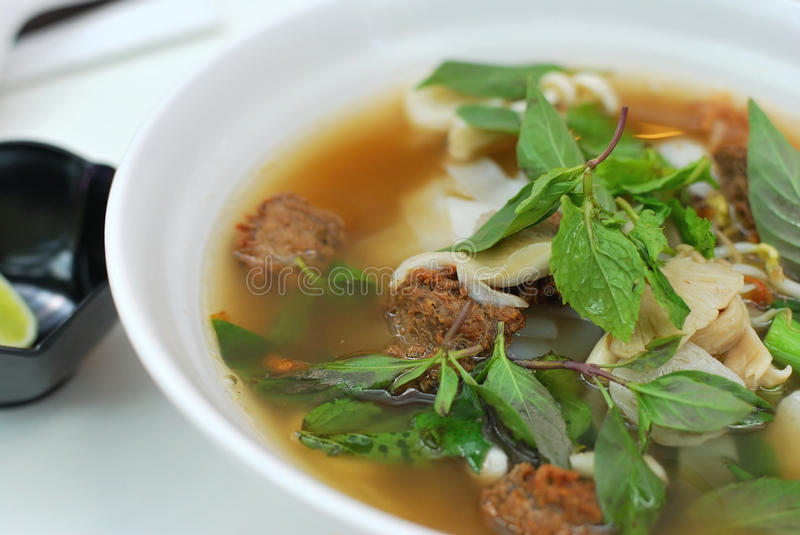Vietnamese style vegetarian noodle soup stock photography