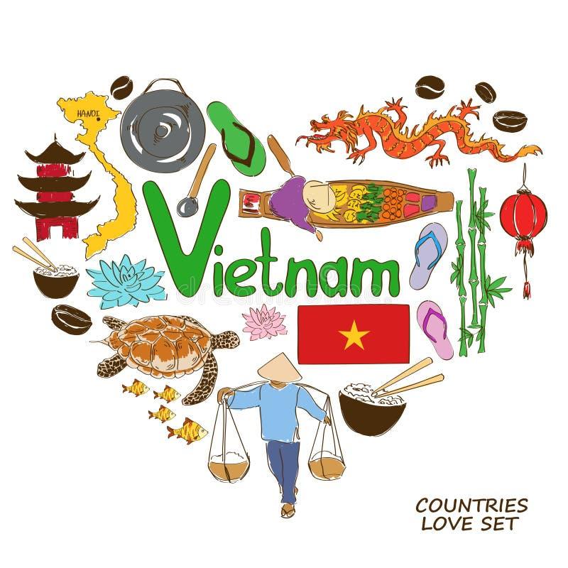 Vietnamese symbolen in het concept van de hartvorm stock illustratie