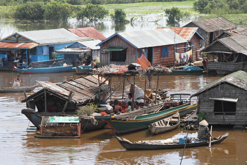 Vietnamese Village in Tonle Sap. Most of Tonle Sap Lake citizen are vietnamese. They migrate and live in Tonle Sap as fishermen while begging from tourists stock photo