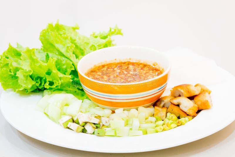 Vietnamese vleesballetjeomslagen met groenten (nam-Neaung) royalty-vrije stock foto's