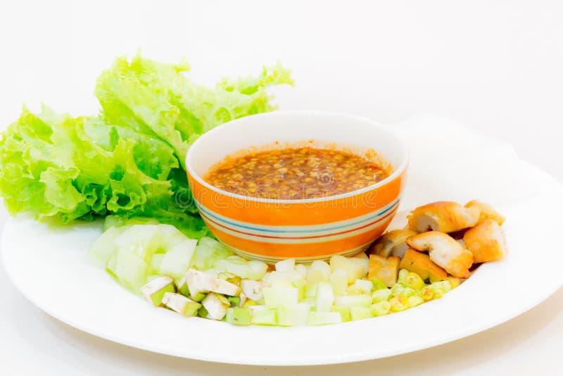 Vietnamese vleesballetjeomslagen met groenten (nam-Neaung) royalty-vrije stock foto