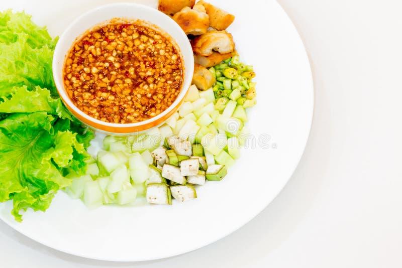 Vietnamese vleesballetjeomslagen met groenten (nam-Neaung) royalty-vrije stock afbeelding