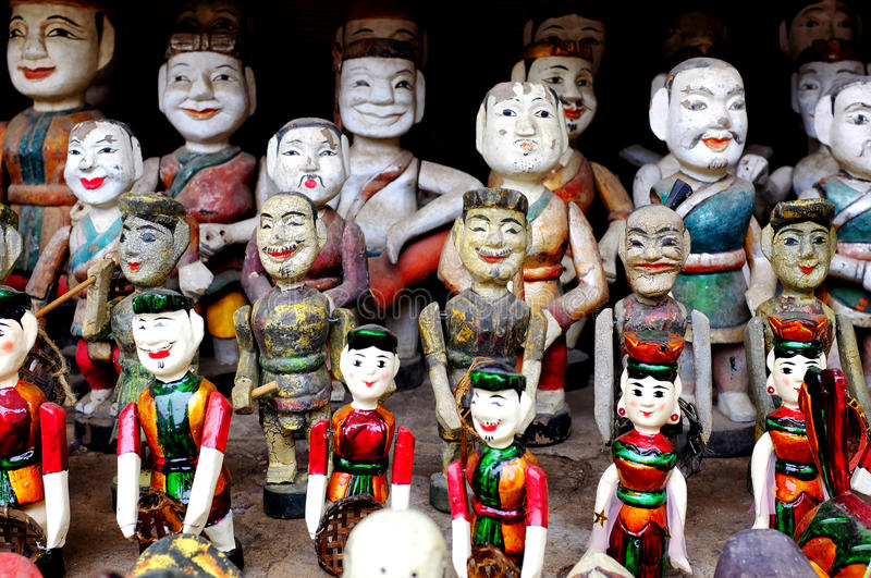 Vietnamese water puppets. On display stock photo