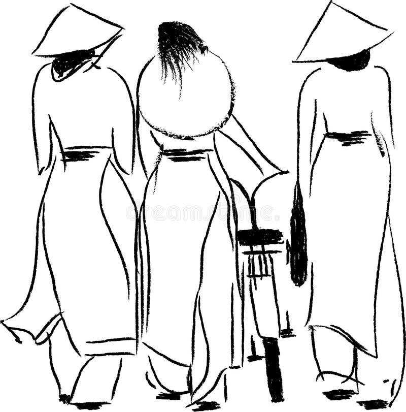 Vietnamese Women in Ao Dai Vector Illustration stock illustration