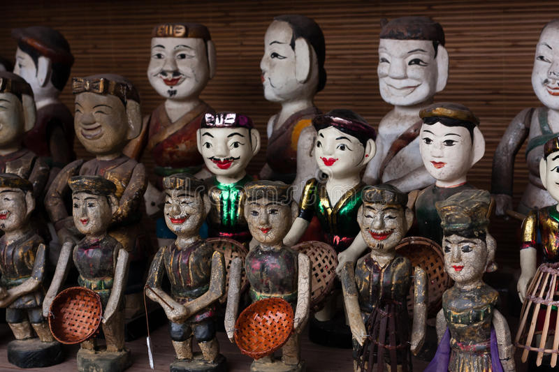 Vietnamese wter puppets. Vietnamese water puppetry is a unique variation on the ancient Asian puppet tradition stock photo