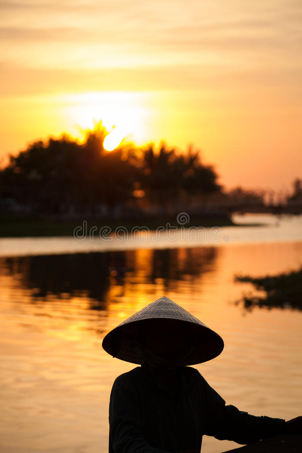 Vietnamese zonsondergang royalty-vrije stock foto