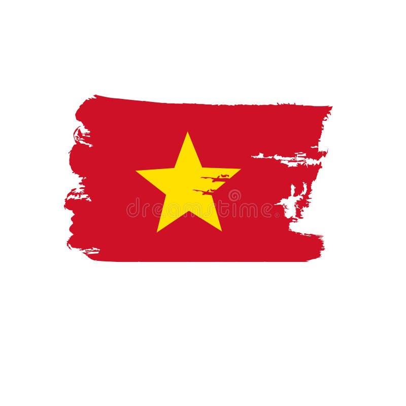 Vietnamesische Flagge gemalt durch Bürstenhandfarben Kunstflagge Schmutzflagge stockfoto