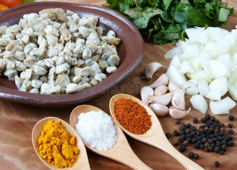 Vietnamesisches Lebensmittel, Miesmuschel, Reispapier, Vietnam-Essen stockfotos