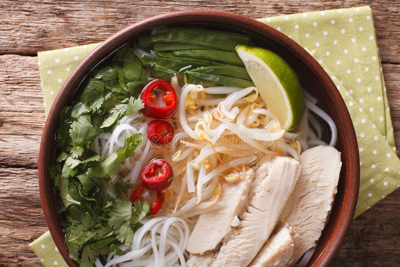 Vietnamesisches Lebensmittel: würzige Suppe Pho GA mit Huhn, Reisnudeln lizenzfreie stockfotos