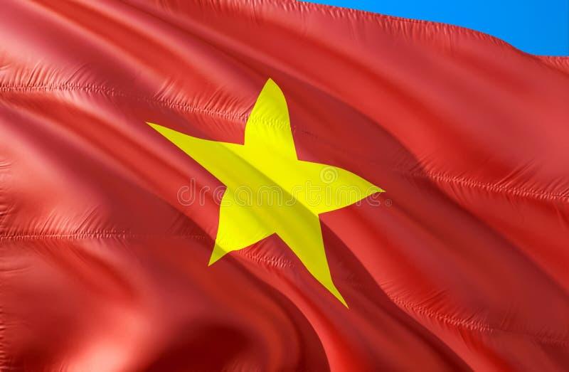 Vietnamesisk flagga vinkande design för flagga 3D Det nationella symbolet av Vietnam, tolkning 3D Vietnamesiska nationella färger vektor illustrationer