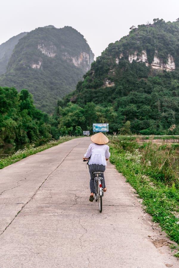 Vietnamesisk kvinna med den traditionella koniska sugrörhatten på cykeln Härligt landskap av risfält och berglandskap på naturen royaltyfria bilder