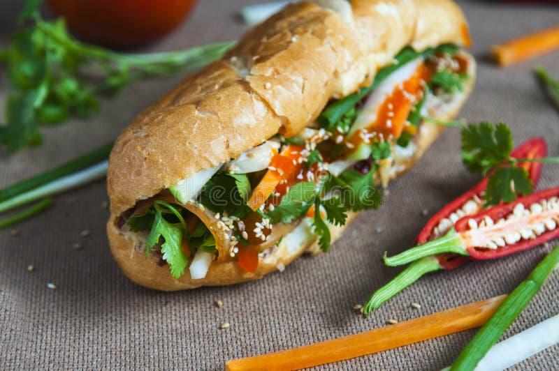 Vietnamesisk smörgås på bakgrunden royaltyfri foto