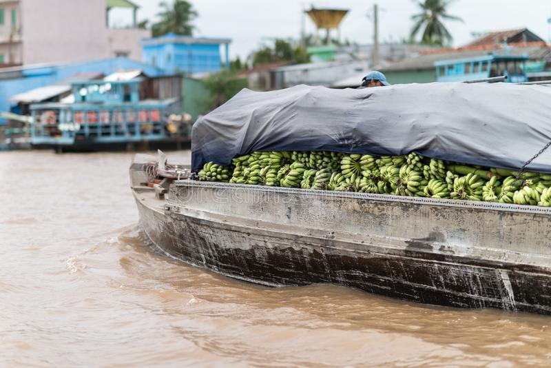 Vietnamesiska säljare på ett fartyg med bananer i en sväva marknad på Mekonget River i Vietnam royaltyfria foton