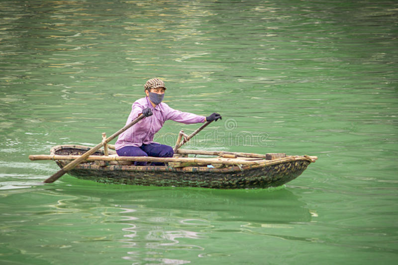 Vietnamise women on the boat royalty free stock photography