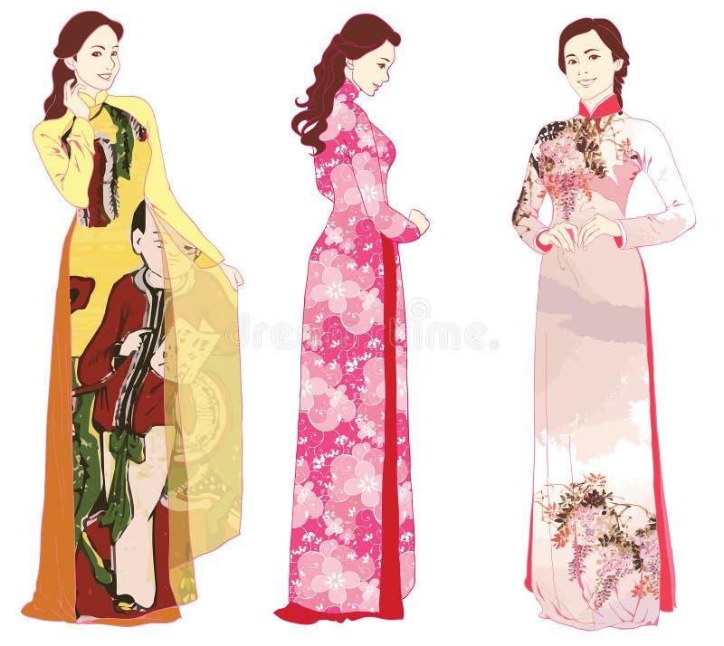 Vietnamita ao dai ilustração stock