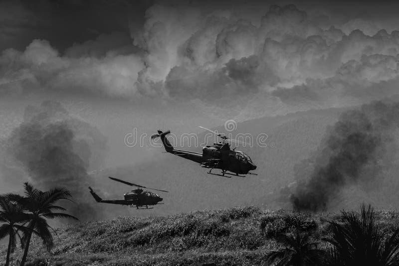 Vietnamkriget - konstnärrekreation royaltyfri illustrationer