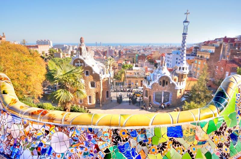 Vieuw über der Stadt von Barcelona vom Park Guell stockbild
