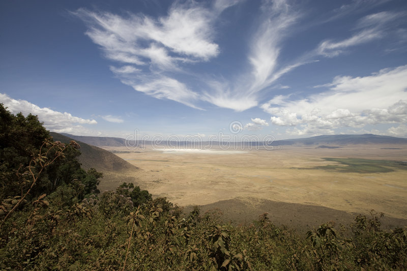 Vieuw into Ngorongoro crater Tanzania from the rim. In november 2009 stock images