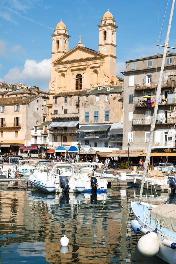Vieux口岸,旧港口,在巴斯蒂亚,法国 免版税图库摄影