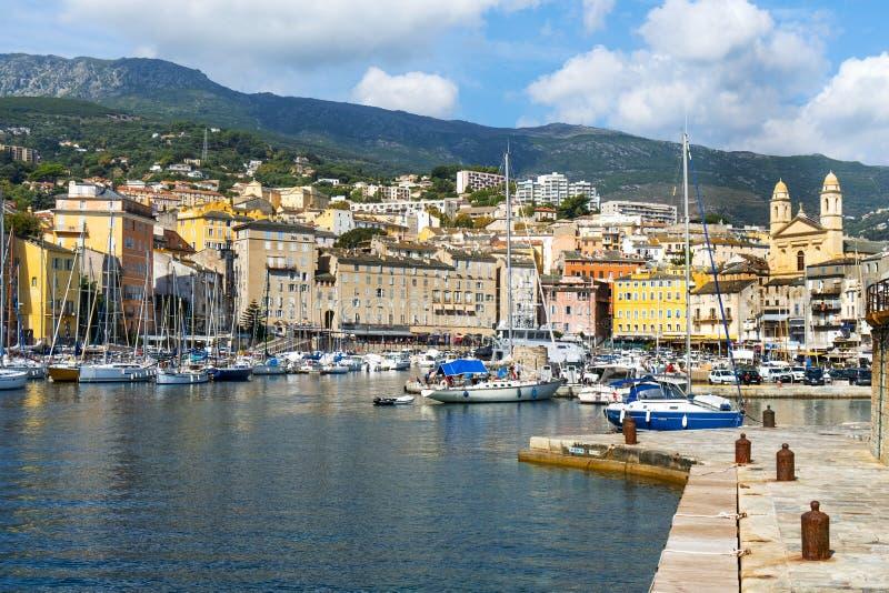 Vieux口岸,旧港口,在巴斯蒂亚,法国 免版税库存照片