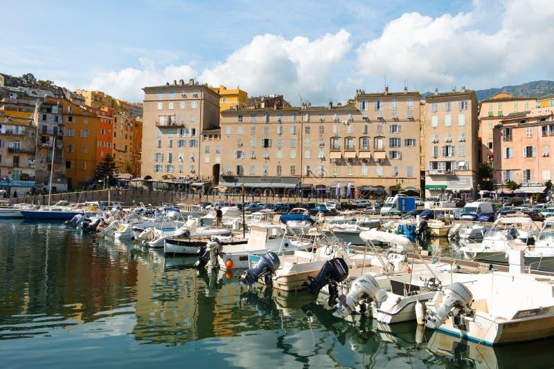 Vieux口岸,旧港口,在巴斯蒂亚,法国 库存照片