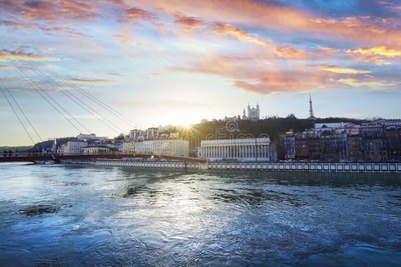 Vieux Λυών στο χρόνο ηλιοβασιλέματος στην πόλη της Λυών στη Γαλλία στοκ φωτογραφίες με δικαίωμα ελεύθερης χρήσης