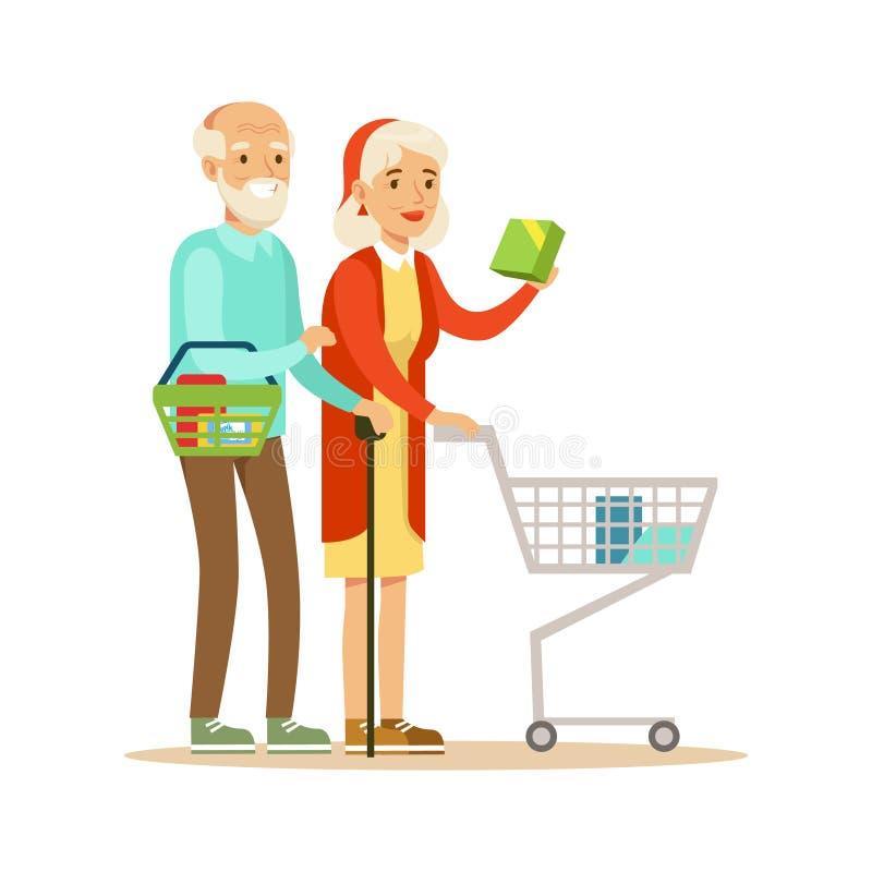 Vieux ajouter aux achats de chariot dans le magasin, choses de achat de personnage de dessin animé dans la boutique illustration libre de droits