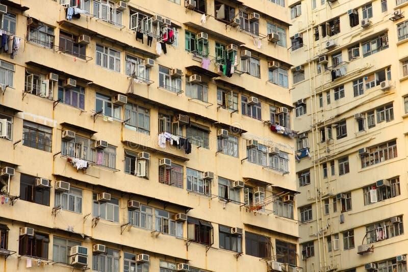 Vieux appartements à Hong Kong photos libres de droits
