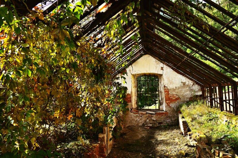 Vieux bâtiment abandonné de serre chaude dans le jardin de château photos stock
