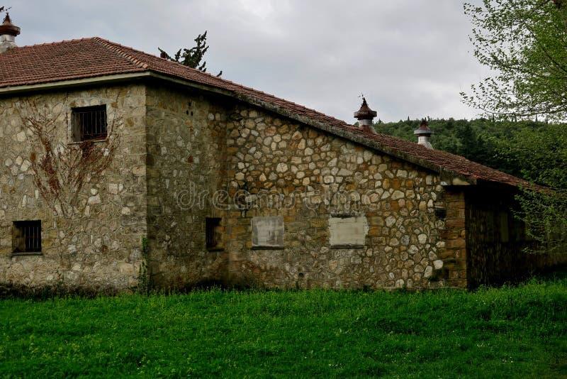 Vieux bâtiment abandonné sur une pelouse verte au milieu de la forêt photo stock