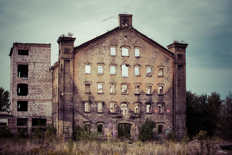 Vieux bâtiment industriel à Danzig image libre de droits