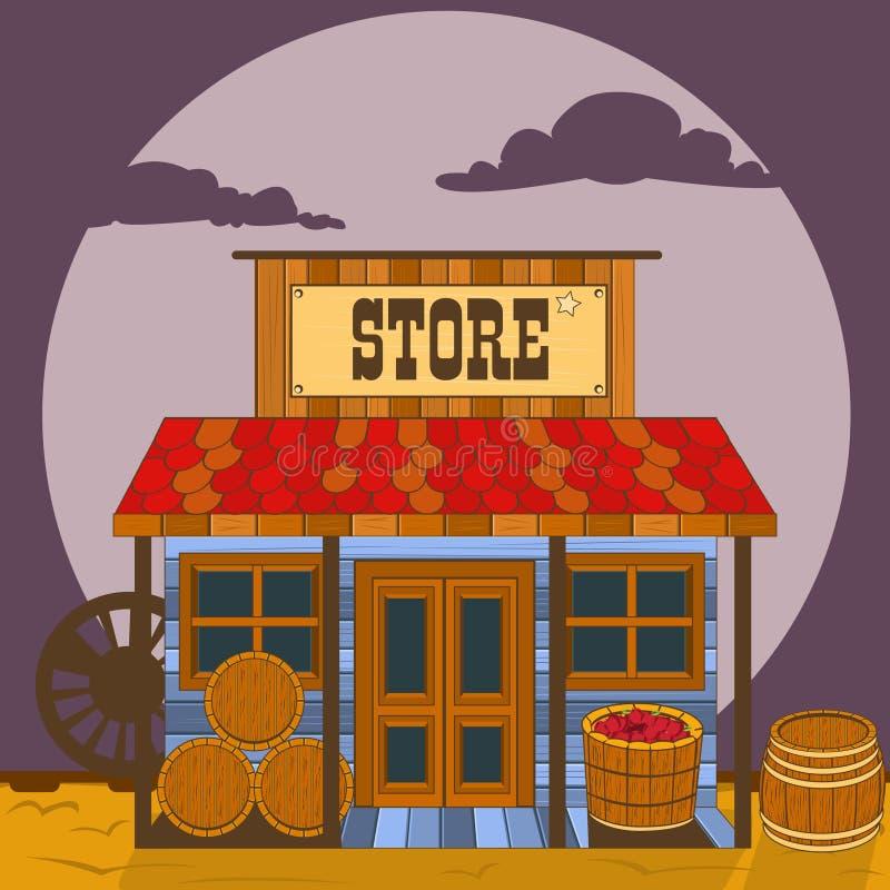 Vieux bâtiment occidental - magasin illustration de vecteur